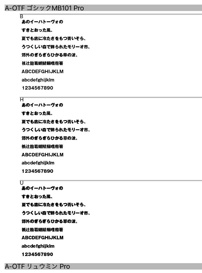 フォント見本No.01